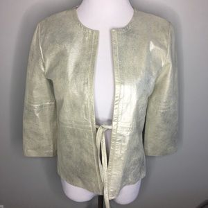One Girl Who Shimmery Leather Front Tie Jacket